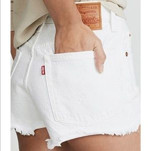 Levi's 501 Distressed White Button Fly Short